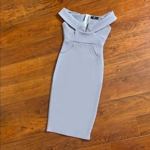 lilac v front bardot midi dress